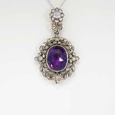 Vintage 1950's 4.10ct t.w. Amethyst, Rose Cut Diamond, Moonstone Pendant Sterling | Antique & Estate Jewelry | Jewelry Finds