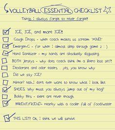 Volleyball checklist.