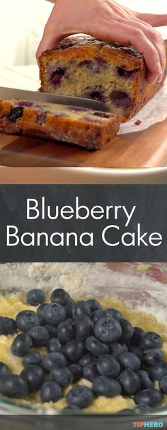 Blueberry Banana Cake Recipe |Mmmm, it's blueberry season! And you can enjoy this delicious bread as a dessert or a sweet start to your day! Click for the recipe and how-to video.   #baking #blueberries #breads #homecooking #yum