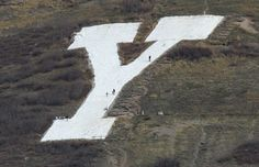 Provo, Utah. The 'Y' on Y Mountain That Is Above Provo, Utah And The BYU Campus. This Photo Gives You An Idea As To How Large That Concrete Y Actually Is! The People Walking Around Up There Looks Like Ants!