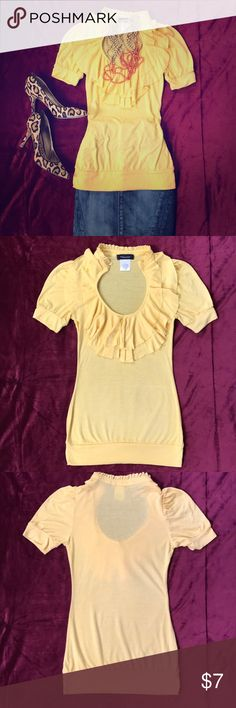 Yellow Ruffled Blouse Scoop neck, ruffled, short-sleeve blouse. 66% Polyester, 28% Rayon, 6% Spandex, Yellow/Gold. Very good condition. Fleurish Tops Blouses