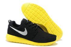 Elegant Mens Nike Roshe Run Coal Black Lemon Silver Shoes,www.freerundistance.com