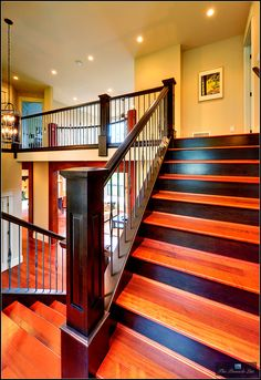 Wood Profits - I love the two-tone stain on the stairs of this beautiful staircase. - Discover How You Can Start A Woodworking Business From Home Easily in 7 Days With NO Capital Needed! Redo Stairs, Staircase Makeover, House Stairs, Basement Stairs, Stained Staircase, Craftsman Staircase, Staircase Remodel, Custom Built Homes, Level Homes