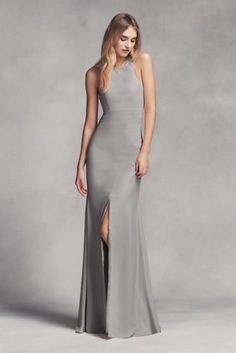 Dramatic lines define this long racerback bridesmaid dress with a cutaway halter neckline, cowl back, and front slit. White by Vera Wang, exclusively at David's Bridal Polyester Back zipper; fully lined Dry clean Imported