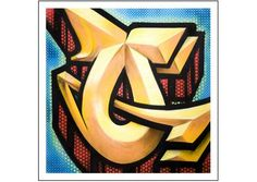 Letter Q Graffiti by RISK- RISK depicts a example of the letter Q in graffiti tag throw up street art style. . Limited edition Giclée art print artwork by famous graffiti artist RISK.