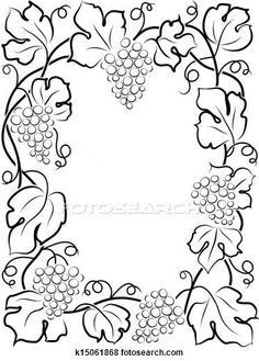 Illustration of black calligraphy frame wine label vine grapes