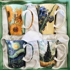 Van Gogh Set of 4 Bone China Mugs - keramik - Coffee My Coffee, Coffee Cups, Tea Cups, Cheap Coffee, Large Coffee Mugs, Arte Van Gogh, Keramik Vase, China Mugs, Cute Mugs