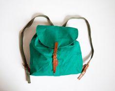 Rare Vintage LL Bean Canvas and Leather Rucksack Backpack Drawstring Bag in Bottle Green ($125.00) - Svpply