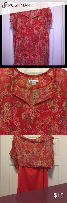 Liz Claiborne Top Like new condition Liz Claiborne sheer paisley print top, comes with matching camisole which is attached (see pic #3).  Coral color.  Worn once.  No picks, tears or stains in fabric.  Size XXL Tall. Liz Claiborne Tops Blouses
