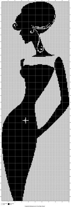 0 point de croix monochrome femme en robe - cross stitch lady in black dress