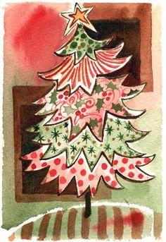 """Weihnachten-Wandmalerei, Original Aquarell Malerei Weihnachtsbaum Wand Kunst/Dekoration 4,5 """"X 6,5"""" von Kristin Glasur van Lieshout"""