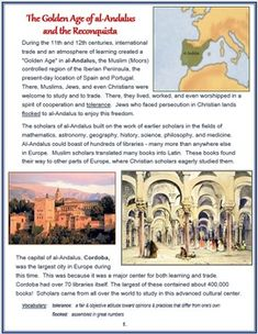 This illustrated article explains the conditions of al-Andulus before and after the Reconquista and Spanish Inquisition. Includes: - 3-Page Illustrated Article - Text Dependent Question Quiz + Answer Key - Crossword + Crossword Key - Visuals -