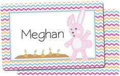 Personalized Easter placemat for girls. Exclusive design has a pink chevron and rabbit.