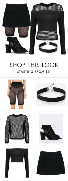 """""""Ninja"""" by lasbelin ❤ liked on Polyvore featuring Express, City Classified, Boohoo, Burberry, black and fishnet"""