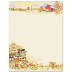 Harvest Time Letter Paper | Idea Art Stationary Printable, Computer Paper, Autumn Crafts, Paper Frames, Writing Paper, Note Paper, Autumn Theme, Paper Background, Adult Coloring Pages