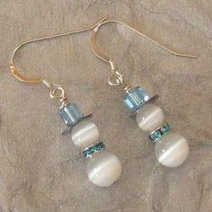 Snowman beads dangle earrings. Craft ideas from LC.Pandahall.com