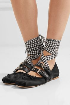 54bf6e4bd9b Miu Miu - Lace-up leather-trimmed satin ballet flats
