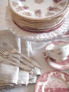 English tea plates by Royal Grafton in the Golden Heritage pattern.