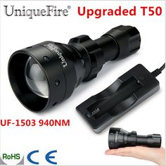 43.25$  Buy here - http://aiy09.worlditems.win/all/product.php?id=32608374148 - UniqueFire 1503 Upgraded T50 Zoomable LED Flashlight Torche Osram IR 940nm 50mm Convex Lens 3 Mode Lamp Waterproof For Hunting