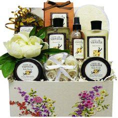 Art of Appreciation Gift Baskets   Vanilla Spa Bath and Body Care Package Box
