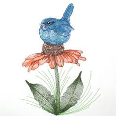 Bluebird Coneflower Mini Set  Anyone who fancies our feathered friends is sure to love this delightful design set . Perched upon a coneflower, thread painted with detail this bluebird almost looks real. This file includes the main 5x7 file with the bluebird on the full coneflower and two additional files $7.00