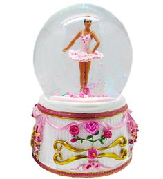"""BALMWG-AA: Turning Ballerina Musical Snow Globe Ethnic - Plays """"Serenade' by Shubert - Retail Only - Available Fall 2015!"""