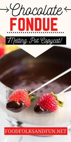 This velvety Chocolate Fondue recipe is fuss-free and so rich and decadent! Perfect for Valentines Day or a fun night in with your family!  Follow Food Folks and Fun for more easy dessert recipes!