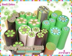 New millefiori canes collection. Polymer Project, Polymer Clay Canes, Clay Tutorials, Summer Colors, Flower Making, Chocolate Covered, Pistachios, Flowers, Projects