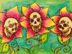 Sugar Skull Flowers Plaque