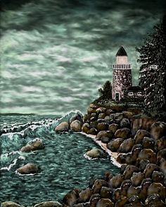 Madeline's Lighthouse - painted by Ave Hurley now at Imagekind starting at $9.49