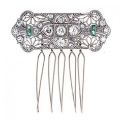 Pre-Owned Vintage 1920s Art Deco Platinum, Diamond, and Emerald Stones Hair Accessory