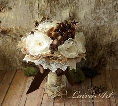 Rustic Wedding Flowers Bouquet Pine Cones Wedding Bouquet Burlap Bouquet Alternative Bouquets Brooch Bouquet by LaivaArt on Etsy https://www.etsy.com/listing/242560528/rustic-wedding-flowers-bouquet-pine
