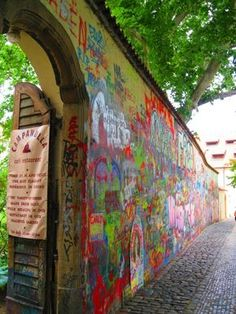 The John Lennon Wall | Prague, Czech Republic 2015. Found a geocache here, was our first log for the Czech Republic.