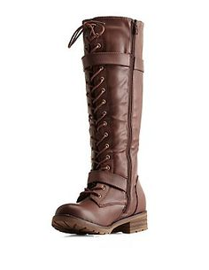 Belted Lace-Up Knee-High Combat Boots