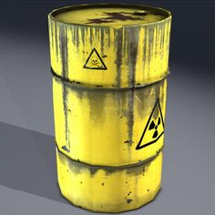 3d industrial barrel radioactive - Barrel, radioactive waste, old. Game ready!... by beyond3D