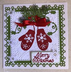 Christmas card with mittens hand made by Lorraine Smallacombe