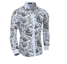 2017 New Autumn Printing Fashion Casual Slim Fit Shirt Item Type: Shirts Gender: Men Style: Fashion Sleeve Length(cm): Full Shirts Type: Casual Shirts Collar: Turn-down Collar Fabric Type: Broadcloth Material: Cotton,Polyester Closure Type: Single Breasted Pattern Type: Print Sleeve Style: Regular