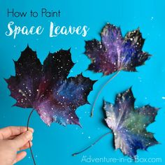 Painting Space Leaves with a Sponge - Adventure in a Box
