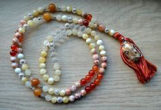 Red Marble and Agate Mala