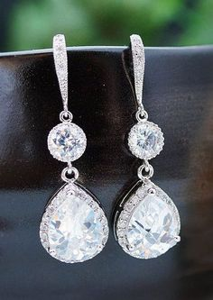Cubic Zirconia Connectors and Clear White Cubic Zirconia Crystal Teardrop Earrings