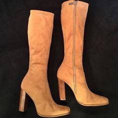 "18"" Tall Carmel Chunky 4"" Heel Boots Faux wood chunky heel. 16"" zipper. Calf measures 6 1/2"" across. Bongo on zipper. 1 small spot on the inside on the boot. Can hardly see it. On very good condition. Non smoking home. BONGO Shoes Heeled Boots"