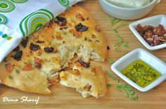 Mediterranean Focaccia with Fresh Rolled Halloumi