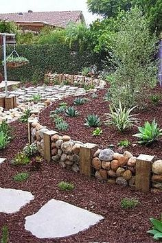 Like this idea. A lot quicker than mortaring the rock and easier to remove if you want to change the landscape. #GardenBorders