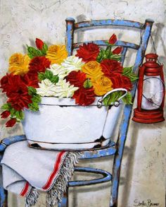 ♥ Stella Bruwer Lovely colours and detail white enamel wash tub blue chair red later red white gold flowers