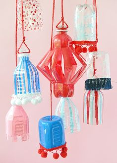 plastic bottle art Give empty plastic bottles a new life as these festive of July lanterns! Empty Plastic Bottles, Plastic Bottle Crafts, Recycle Bottles, Diy Bottle, July Crafts, Easy Crafts For Kids, Craft Tutorials, Diy Projects, Craft Ideas