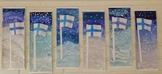 Anna idean kiertää!: 6. päivä: Suomen lippuja Diy And Crafts, Crafts For Kids, Arts And Crafts, Primary School Art, Winter Art, Art Classroom, Art Activities, Teaching Art, Christmas Art
