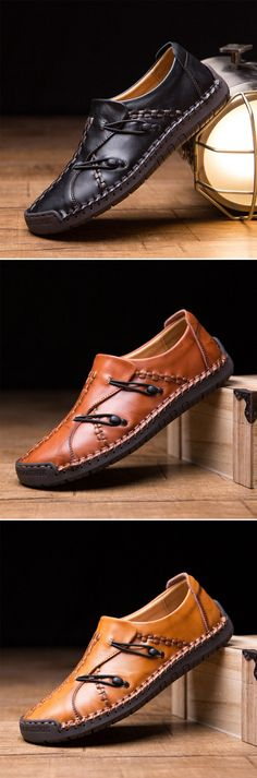 US$43.68 Men's Hand Stitching Stylish Soft Sole Slip On Loafers Casual Leather Shoes