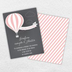 Invitación Imprimible. Cumpleaños Up, Up, and away. Globo aerostático. By Invitation Only Shop http://byinvitationonlyblog.com