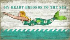 My Heart Belongs to the Sea Mermaid Art - Comes in your choice of 2 sizes and can be customized - simply change the wording at the top of the beach sign to fit your beach cottage. Beach Cottage Style, Beach Cottage Decor, Coastal Style, Coastal Decor, Coastal Living, Seaside Decor, Cozy Cottage, Mermaid Sign, Mermaid Wall Art