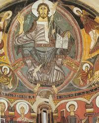 Pintura románica: El ábside de la iglesia de San Clemente Tahull. Data de mitad del S.XII. Su autor es el maestro de Tahull. Sus características más claras son la pose totalmente hierática, huyendo del naturalismo, una concepción plana de la composición y la simetría.